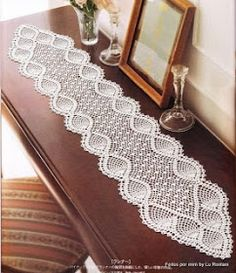 nice Free Crochet Table Runner Patterns Check more at…beautiful tablecloths crochet pattern ~ make handmade - handmade - handicraftmany free crochet patterns here pretty table runner by chrystalee - PIPicStatsBethSteiner: toalhas NTS lots of patter Hard Crochet Table Runner Pattern, Crochet Doily Patterns, Crochet Tablecloth, Crochet Diagram, Thread Crochet, Filet Crochet, Crochet Designs, Crochet C2c, Crochet Curtains
