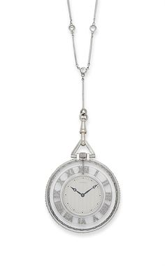 AN ART DECO ROCK CRYSTAL, DIAMOND AND PLATINUM POCKET WATCH, BY CARTIER AND A DIAMOND AND PLATINUM CHAIN
