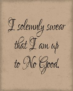 I solemnly swear that I am up to no good.