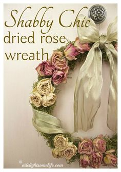 I loved how these sweet little rosebuds dried. I wanted to keep them, so I created a dried rose wreath with moss and a satiny bow..this romantic decorative item has no season
