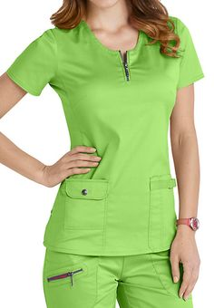 Beyond Scrubs Mia Zip Front Scrub Tops Healthcare Uniforms, Medical Uniforms, Scrubs Outfit, Scrubs Uniform, Womens Fashion For Work, Work Fashion, Doctor White Coat, Scrubs Pattern, Stylish Scrubs
