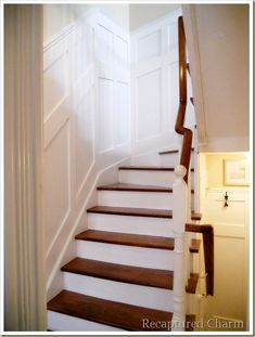 Board and Batten Staircase.  This would really lighten up our stairwell, but oof, my head hurts already thinking of the math/leveling/spacing involved.