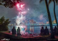 West Palm Beach Fireworks New Years Watching the Show