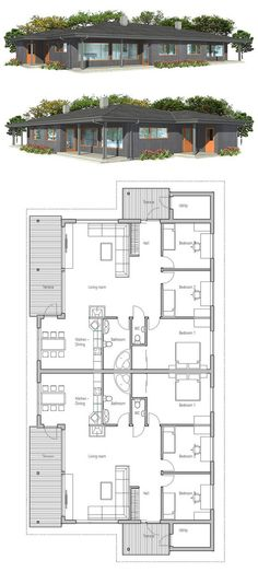 Duplex House Plan - Futura Home Decorating Craftsman Style House Plans, Modern House Plans, Small House Plans, Duplex Design, House Design, Duplex Floor Plans, Apartment Plans, Interior Exterior, Interior Design