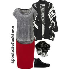 A fashion look from April 2015 featuring oversized cardigan, scoop neck t shirt and red skirt. Browse and shop related looks.
