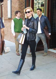 January Jones Looks Stylish & Sexy Dressed All in Black in NYC