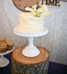 Milk glass cake stand on wood slice love the Rustic Charm