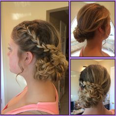 Did my sisters hair for homecoming again!! Side updo with a braid