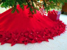 54 Christmas Tree Skirt in a Deep Red Premium felt with image 3 Xmas Tree Skirts, Diy Christmas Tree Skirt, Crochet Christmas Trees, Handmade Christmas Tree, Ribbon On Christmas Tree, Christmas Tree Themes, Christmas Sewing, White Christmas, Christmas Crafts