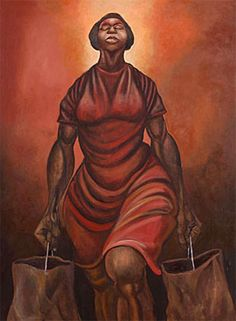 """In 1956 Ernie Barnes (1938-2009) visited the North Carolina Museum of Art while on a field trip; when he inquired of a docent where he might find the museum's collection of works by Black artists, he was told """"Your people don't express themselves that way."""" Barnes would develop into one of America's premier Black artists and in 1978 would return to the same museum for a successful solo exhibition of his art.  Here is """"My Miss America"""", Barnes' heroic depiction of Black  womanhood."""