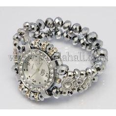 Браслеты для часов, стекло, хрустальные бусины, сплав с горный хрусталь часы, серый, размер: около 40.5 мм, 50 мм внутреннего диаметра