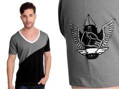 Camiseta Diagonal | Cód.1034 | 100% algodão com recortes e estampa silk.