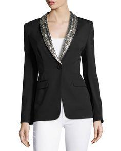 Escada Embellished Lapel Single-Button Jacket, Black, Women's, Size: 42, White