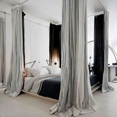 Drapes on canopy bed bedroom goals