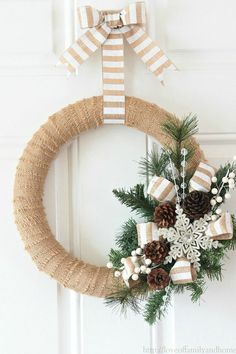 Burlap Christmas decorations are ideal for a Rustic Christmas decor or Farmhouse Christmas decor which is cozy & cute. Best Burlap Christmas ideas are here. Burlap Christmas Decorations, Diy Christmas Tree Topper, Diy Tree Topper, Christmas Ornament Wreath, Christmas Wreaths To Make, Holiday Wreaths, Rustic Christmas, Christmas Projects, Christmas Diy