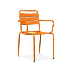 Paris Orange Metal Stackable Arm Chair (Set of 4)