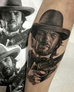 portrait clint eastwood tattoo awesome original tattoos pinterest clint eastwood tattoo. Black Bedroom Furniture Sets. Home Design Ideas