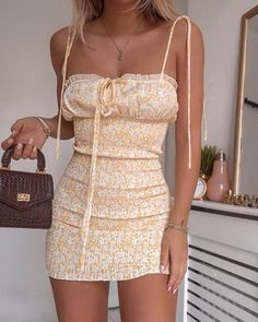 Shop Floral Print Ruffle Trim Dress right now, get great deals at bellewholesale Girly Outfits, Cute Casual Outfits, Outfits For Teens, Casual Dresses, Summer Dresses, School Outfits, Vintage Outfits, Mini Dresses, Grunge Outfits