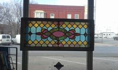 antique victorian stained glass window transom