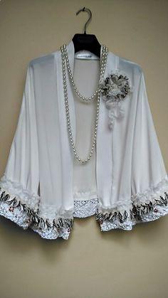 Bridesmaid White Georgette Jacket, Boho Art Vintage Embellished details,Fashion designe, Handsewn