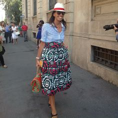 chambray button-up, full tea-length high-waisted skirt, panama hat, heels, straw bag