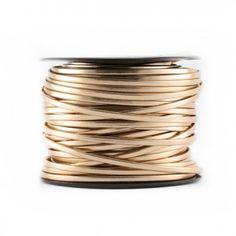 Simili cuir plat 3mm replié métallisé rose gold - www.calypsobijoux.com