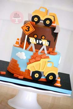 trucks and diggers! Cupcakes, Cupcake Cakes, Truck Birthday Cakes, 2nd Birthday, Bicycle Cake, Digger Cake, Construction Birthday Parties, Construction Theme, Transportation Birthday