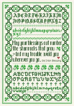 Irish Blessing Sampler cross stitch pattern.