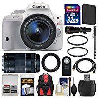 Canon EOS Rebel SL1 Digital SLR Camera & EF-S 18-55mm IS STM Lens (White) with 75-300mm III & 500mm Lenses + 32GB...