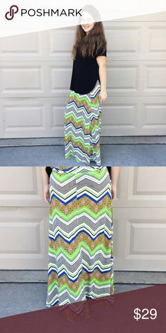 "Abstract Chevron Maxi Made of lightweight fabric featuring chevron, stripes and other fun prints in black, white, bright pink, lime green, orange and yellow. Super stretchy and so comfortable! Measurements: Waist laying flat approx. 12"". Waist to hem approx. 41"".                            Check my closet for other colors and sizes.  Bundle discounts! 15% off 3; 20% off 5 or more. mimx Skirts Maxi"