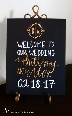 A lovely sign to welcome the new Mr. + Mrs. Who's getting married?  Adorn Studio   adornstudio.com