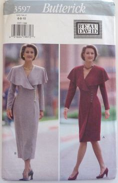 Sewing Pattern Butterick 3597  Ladies Fitted, straight, wrap dress by vintagememory, $7.00