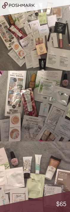 HUGE NEW BEAUTY CARE LOT BUNDLE All items are new and trial sizes. Benefit mini fake up stick, glam glow mud mask, Dior dream skin, ncLA designer nail wraps, tarte glass bottle bronzing serum, tarte brazilliance tube, Versaspa tube, opi, jessica liebskind pink sequin gloss, make up forever waterproof aqua eyes brown(hit top still ok), nude beige loreal cushion, kiehls body cleanser, bumble & bumble hair thickening set, eye brush dual ended, tons of different top brands! THIS WILL NOT BE…