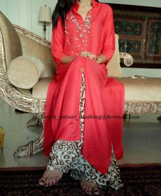 pink malai lawn self printed open style shirt with animal printed palazzo Pakistani Casual Wear, Simple Pakistani Dresses, Pakistani Outfits, Indian Dresses, Simple Dresses, Indian Outfits, Nice Dresses, Casual Dresses, Ethnic Fashion