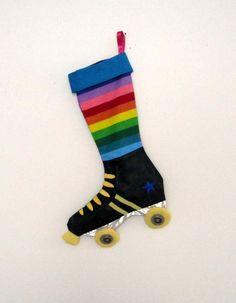 Roller derby skate Christmas stocking