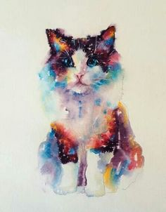 Watercolor art of a Kitten Watercolor Cat, Watercolor Animals, Watercolor Paintings, Cat Tattoo, Cat Drawing, Animal Paintings, Cat Art, Pet Portraits, Art Pictures