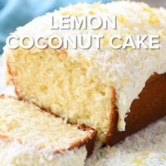 Lemon coconut cake is a moist flavorful homemade lemon coconut cake! tender fluffy lemon loaf cake topped with cream cheese frosting coconut and lemon zest! the perfect spring dessert! Oreo Desserts, Lemon Desserts, Easy Desserts, Delicious Desserts, Dessert Recipes, Coconut Desserts, Easter Recipes, Coconut Loaf Cake, Lemon Loaf Cake