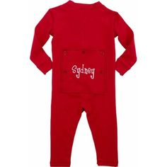 Personalized Infant Message Long John, Red, Infant Unisex, Size: 3 Months