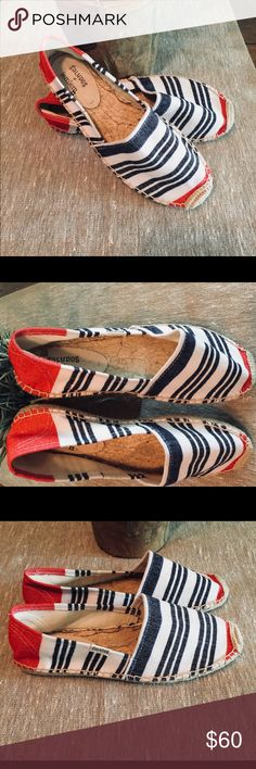 """Soludos x Lemlem Dali Meron Striped Espadrilles 7 Soludos x Lemlem Dali Meron Striped Espadrilles 7! Soludos known for epic style and comfort these Lemlem x Soludos Espadrilles are made using Lemlem's traditional handwoven cotton fabric. Striped canvas upper with jute trim; and man made 10mm/.05 """" / and slip in style. Retails for $109. Pre owned worn 1 time maybe? See pics ❤️ Soludos Shoes Espadrilles"""