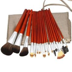 18pcs Professional Cosmetic Makeup Brush Set with Dark Grey Bag Brown --- http://bizz.mx/100x