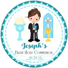 Boys First Holy Communion Favor Tags or Sticker Labels, Boys Communion Stickers, Boys Communion Labe Boys First Communion, First Communion Favors, Christening Favors, Baptism Favors, Recuerdos Primera Comunion Ideas, 1st Birthday Decorations, Favor Tags, Sticker Paper, Cards
