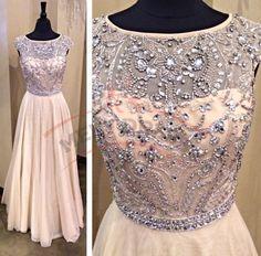 Elegant Long Prom Dresses,Prom Dresses 2016, Champagne Prom Dresses,Chiffon Prom Dresses,Beading Evening Dresses