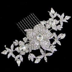 Wedding Flower Drop Hair Comb, Clear Rhinestone Swarovski Crystal Bridal Floral Headpiece, Vintage Inspired Bridesmaid Jewelry-122221696