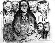 """Käthe Kollwitz. The Survivors. 1923. Charcoal on grey wove paper. Signed, lower right. 19 3/8"""" x 25 1/2"""" (49.5 x 64.8 cm). Study for the lithograph of the same title (Klipstein 184). Nagel 985.  Private Collection, Courtesy Galerie St. Etienne, NY."""