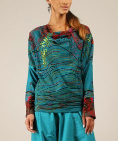 Love this Blue & Red Abstract Drape Top by chaitanya on #zulily! #zulilyfinds