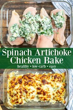 Healthy spinach artichoke chicken bake A perfect family meal . - Healthy spinach artichoke chicken bake A perfect family meal with low carbohydrates - Spinach Artichoke Chicken, Chicken Broccoli, Chicken Spinach Recipes, Pasta Recipes, Beef Recipes, Family Recipes, Chicken With Spinach, Canned Artichoke Recipes, Carp Recipes