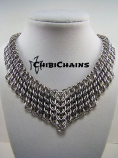 This necklace is made from bright aluminum rings with the Half Persian 3 in 1 sheet weave, large but very lightweight. www.chibichains.com www.facebook.com/chibichains