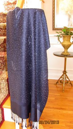 Wondrous Navy & Silver Hand Crafted Evening Shawl