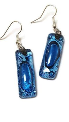 Blue Long Earrings. Different bubbles. Recycled Glass earrings. Fused glass jewelry.