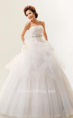 #Valentines #AdoreWe #Dorris Wedding - #Dorris Wedding Elegant Strapless Jeweled Ball Gown With Corset Back and Tulle Overlay - AdoreWe.com
